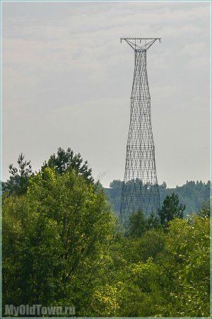 Башня Шухова на Оке близ Дзержинска. Вид издали